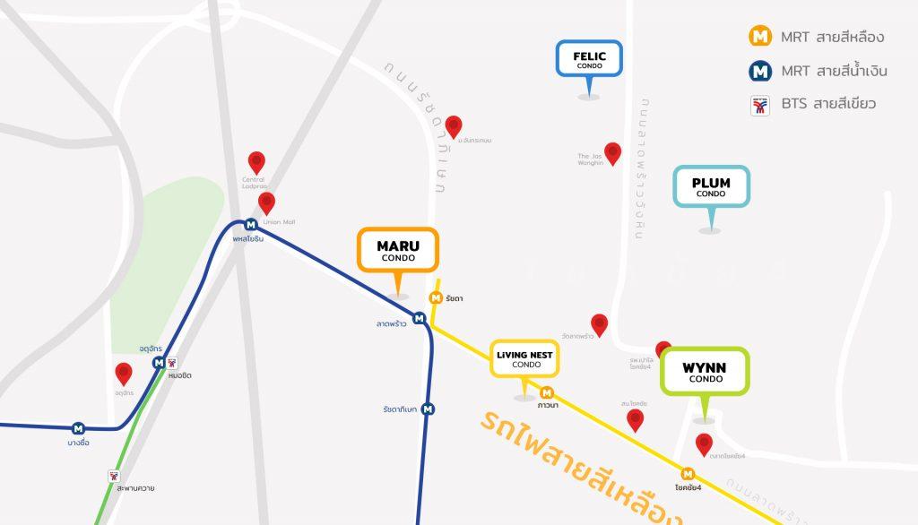 แผนที่แสดงพิกัด คอนโด Living Nest คอนโด Plum คอนโด WYNN คอนโด MARU และคอนโด FELIC ย่านโชคชัย 4